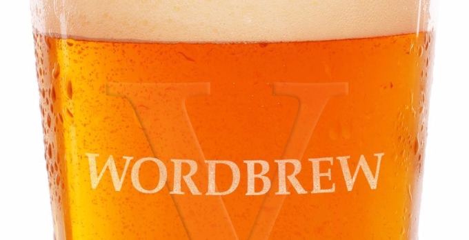 A glass of beer, with the words Wordbrew V written across the top.